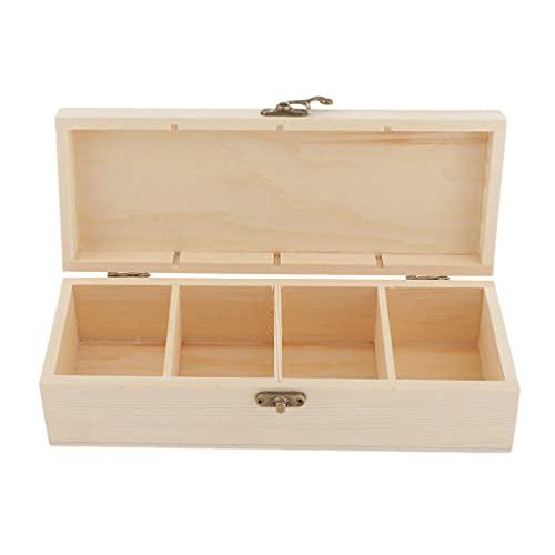 sharprepublic 4 Fächern Holz-Schatulle Sortierbox Teekasten Aufbewahrungbox Holzkiste Holzbox Allzweckkiste