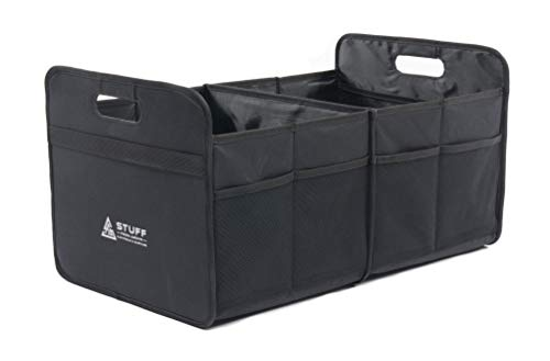 stuff from above® Kofferraumtasche, schwarz, groß, aus Polyester (57x35x30cm) - Organizer Auto mit Klett - Zubehör für Kofferraum Falttasche Einkaufstasche Box Ordnungssystem Tragetasche Kofferraumbox