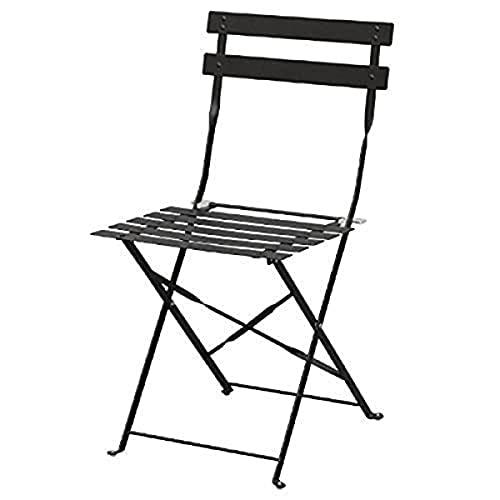 Bolero Lot de 2 chaises en acier Noir