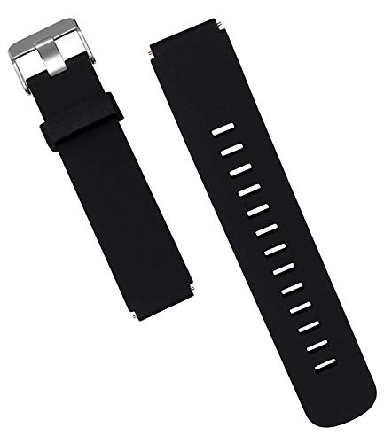 WayLand Fossil Q Venture HR Replacement Band, 18mm Classic Silicone Strap Band for Fossil Q Venture Gen 3 / Fossil Q Venture HR Gen 4 Smartwatch Band 18mm - Black