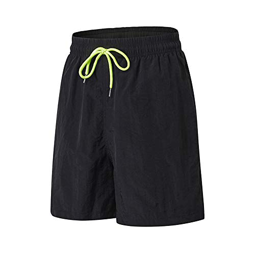 TOMSHOO Hombres Pantalones Cortos Deportivos Verano Hip Fitness Running Ropa Deportiva Corbata Cinturón Cintura Pantalones Calientes Pantalones Cortos Sueltos de Rendimiento (XL, Negro)