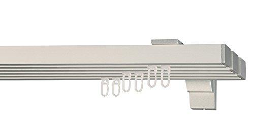 indeko COLMAR, eckige Gardinenschiene mit Innenlauf aus Aluminium auf Maß, 3-Lauf, silber, Komplettset mit Zubehör