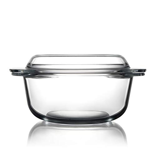 Clear Round Glass Casserole Dish With Lid Non-Plastic Lidded Casseroles Easy Grab Glass Cooking Bowls with Glass Lid, Microwave, Oven, Freezer, and Dishwasher Safe (1.5L)