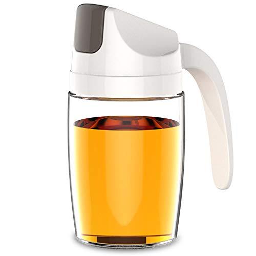 123 Life Dispensador de aceite, botella de vidrio de aceite de oliva, 300 ml a prueba de fugas con tapa y tapón automático, boquilla sin goteo, mango antideslizante para cocina