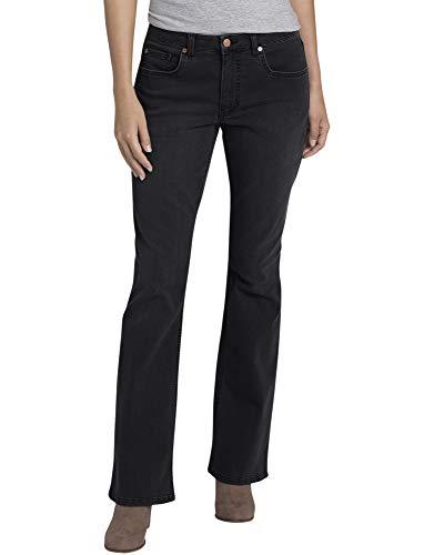 Dickies Women's Perfect Shape Denim Jean-Bootcut Stretch, Rinsed Black, 14RG