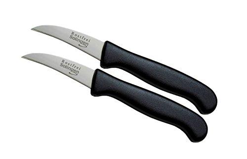 """Schwertkrone 2er Messer-Set gebogen/Gemüsemesser scharf Küchenmesser Schälmesser Allzweckmesser/Germany rostfrei 3\"""" / Handabzug - Dünnschliff - superscharf - spülmaschinengeeignet (2, 2,5\"""" - gebogen)"""