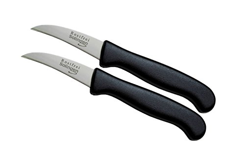 """Solingen 2er Messer-Set gebogen/Gemüsemesser scharf Küchenmesser Schälmesser Allzweckmesser/Germany rostfrei 3\"""" / Handabzug - Dünnschliff - superscharf - spülmaschinengeeignet (2, 2,5\"""" - gebogen)"""