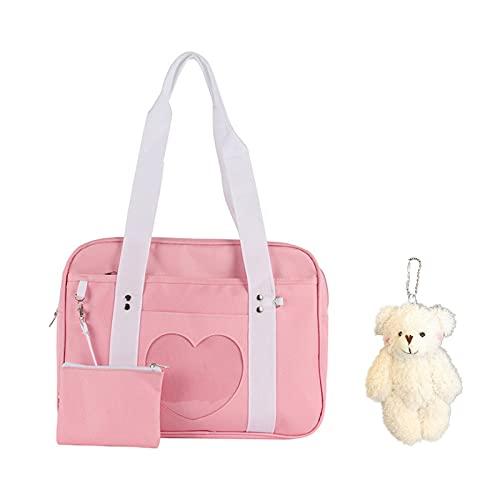 Ita Bag Heart Shape Window Japanese School Handbag Large Jk Bag, Women Handbag Japanese Style Heart Shape, Ita Bag Heart Japanese School Bag Kawaii Large Shoulder Anime Purse (Pink)