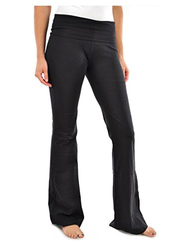 Mopas Women's Black Fold Over Yoga Pants,Black,Large