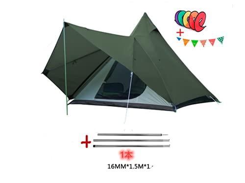 VADI-LIDSO ワンポールテント 4人用 320 x 260 x 200 CM 防水 2000-3000mm 二層構造 蚊帳付 4シーズン テント