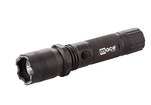 Mace Brand Multi-Mode Flashlight and Stun Gun (Black) – Features On/Off Safety Switch, Stun Button, and Powerful LED Light – Includes Holster and Rechargeable Battery, Great for Self-Defense