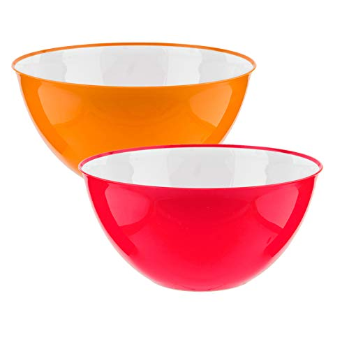 Set of 2 Large Salad Bowl Pasta Tableware Big Mixing Bowls Serving Snacks Food Fruit | 25cm | 3500ml...