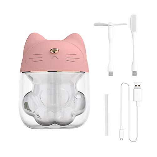 Kylewo 3 In 1 Luftbefeuchter Nette Katze LED Luftbefeuchter Luftfächer Diffusor Luftreiniger Zerstäuber für Schlafzimmer, Baby, Zuhause, Büro
