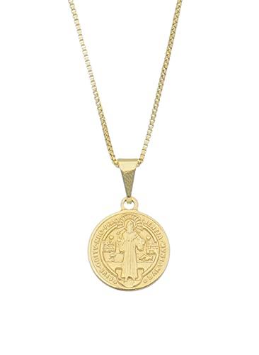 Colar Corrente E Pingente Medalha São Bento Banhado A Ouro 18k