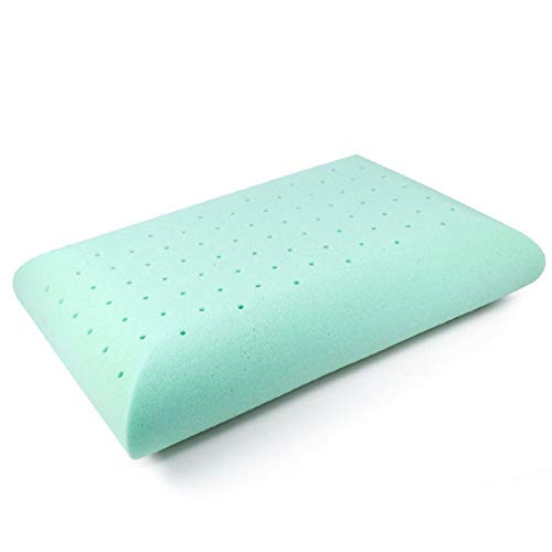 NIUBISILE Memory Foam Pillow, Ventilated Hole-Punch, Gel Cooling Pillow with Washable, Breathable Supportive Bed Pillows for Sleeping, Removable Cover, Best for Side, Back,Green