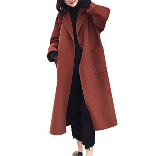 VEMOW Herbst Winter Elegante Damen Cashmere-Like Dicker Jacke Outwear Parka Cardigan Casual Täglichen Business Schlank Mantel(X2-a-Braun, 36 DE/M CN)
