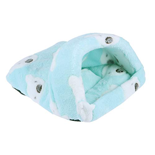 POPETPOP Hamster Sleeping Bag Guinea Pig Winter Warm House Bed Washable Cotton Hammock Small Animals Hanging Nest Cage for Rat Hedgehog Chinchilla - Size Small (Green)