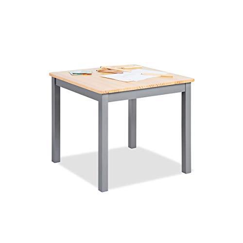 Pinolino Kindertisch Fenna, vollmassives Kiefernholz, Tischhöhe 51 cm, für Kinder von 2 – 7 Jahren, grau und klar lackiert