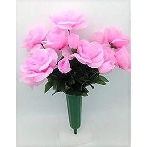 Cemetery Silk Flower Vase Pink Open Rose Bouquet