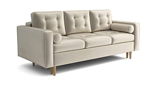 Sofa Venice Sofa mit Schlaffunktion im Samt Velours Farbauswahl (Creme Magic Velvet)