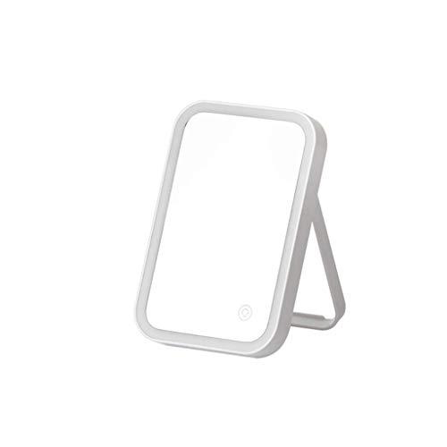 ZXC Home Miroir cosmétique Chambre des ménages en Verre de Bureau Simple Face LED Miroir de Maquillage Bureau de ménage Pliant Outils de Maquillage, Blanc