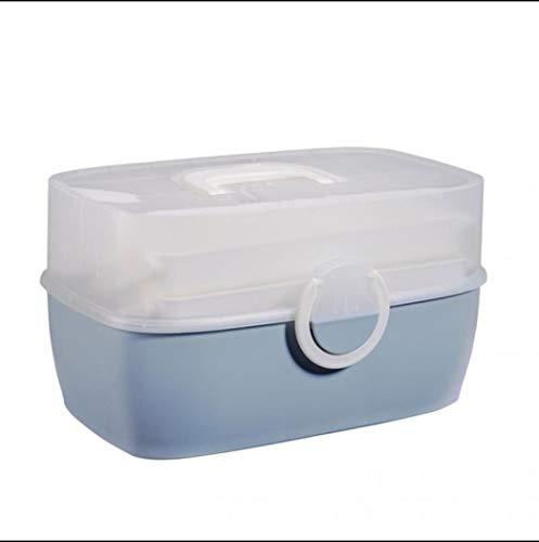Medizinbox Erste Hilfe Box Tragbare Medizin Truhe Aufbewahrungsbox Organizer Box Falten 3-lagig Große Kapazität Medizinschrank Aufbewahrungskoffer für Zuhause Outdoor (Blau)