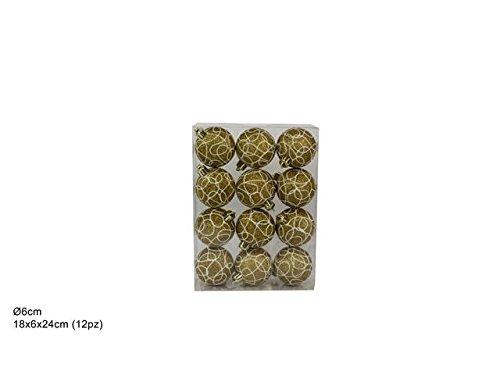 BOX DA 12 PALLINE DI NATALE PALLE DIAM. 6 CM COLORE ORO CON FILO