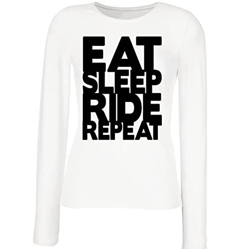 lepni.me Camisetas de Manga Larga para Mujer para Ciclistas Come Duerme Monta Repite Citas para Amantes de la Bicicleta (XXL Blanco Multicolor)