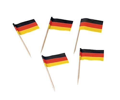 200 Flaggenpicker * Deutschland * // Party deutsche Farben Schwarz Rot Gold Gelb Weltmeisterschaft Fussball Holzpicker Deko WM 2014 Germany