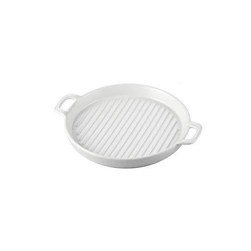 Cuisine créative Plateau de cuisson Four Barbecue Plat profond Four micro-ondes Céramique Plat de cuisson avec poignée (Color : White, Taille : Large)