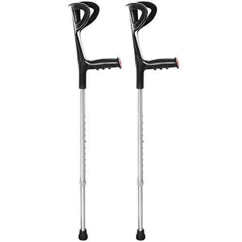 AIESI® Muletas para adulto regulables ortopédicas ligeras color negro en aluminio anodizado (Paquete de 2 piezas) # Garantía 24 meses