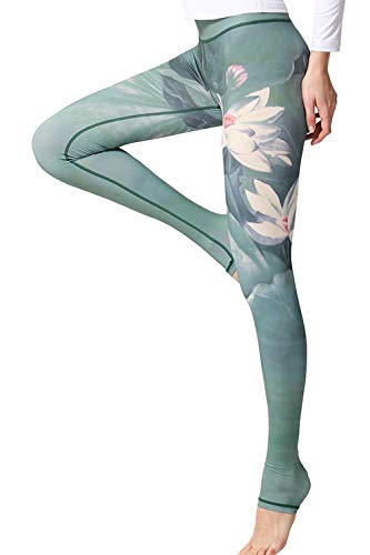 YACUN Damen Leggings Galaxy Yogahose Damen Sport Leggings Jogginghose Yoga Grün55 L
