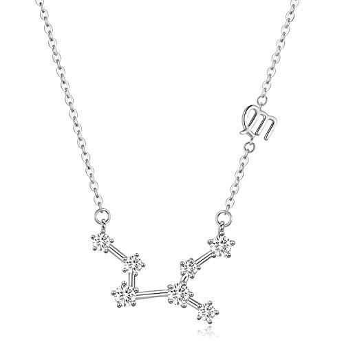 12 Collar de constelación del zodiaco Plata de ley 925, Astrología 12 Colgante de constelación Signo del horóscopo Astrología Zodíaco CZ Collar de estrella Joyas Regalos de cumpleaños para muj