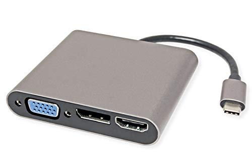 ROLINE USB Type C dockingstation | 4K HDMI, VGA, DP, Fast Ethernet | USB-C docking station voor Macbooks, ultrabooks of notebooks