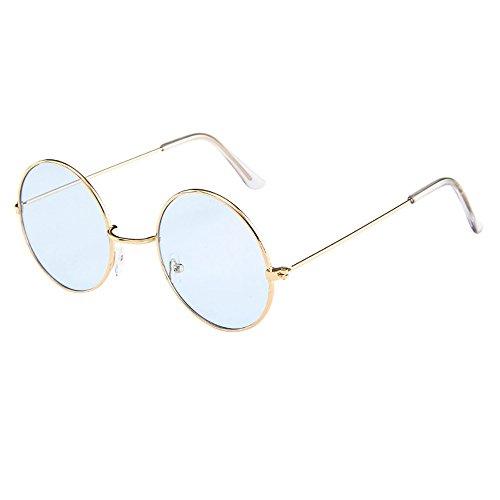 Lazzboy Frauen Männer Vintage Retro Brille Unisex Fashion Circle Frame Sonnenbrille Eyewear Klassische Lennon Runde Polarisierte Mit Schutz Paar Hippie Stil Kreis Farbige Gläser(F)