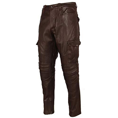 N\P Motorrad Lederhose Herren Lederhose Dickes Rindsleder Vintage Grau Braun Schwarz Herren Bikerhose Winter Gr. 58, braun