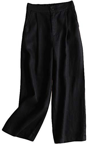 Rolanscia Damen Hosen Sommerhosen Leichte Schicke Hose Pants Leinenhose Elegante Hose mit Weitem Bein 7/8 Länge
