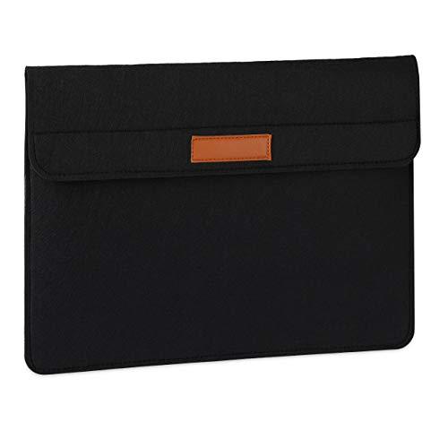 Relaxdays Laptop Hülle, 15,4 Zoll, Filz, Schutzhülle Laptop & Notebook, 4 Fächer, Laptoptasche, 28,5x39,5x4 cm, schwarz, 1 Stück