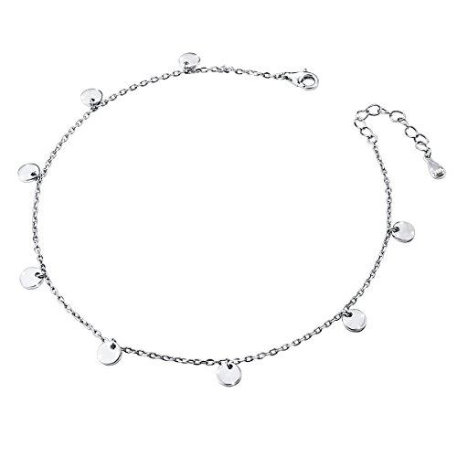 DAOCHONG Damen Fußkettchen 925er Sterling Silber Verstellbare Fußkettchen Beach Style Fuß Armband,11+1 Zoll