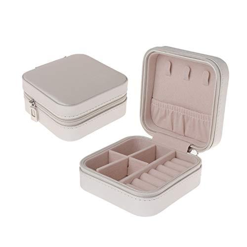 MHXY Caja de joyería fácil de usar con expositor de joyas, de viaje, portátil, para pendientes, de cuero, con cremallera, pequeño volumen (color: blanco)