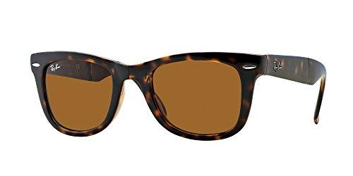 Ray-Ban de la tortuga de Brown B-15 de 54 mm PLEGABLE gafas de sol Wayfarer cuadrado clásico