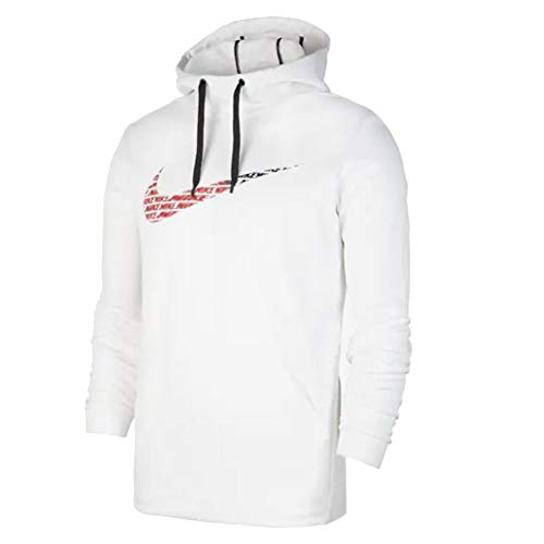 Nike Men's Therma Fleece Pullover Training Hoodie (L, White)