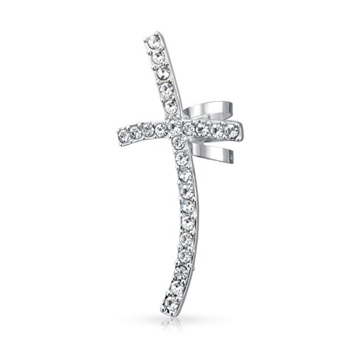 Large Fashion Cartilage Cross Left Ear Cuff Wrap Clip Crystal Pave Climber Crawler Lobe Helix Earrings Stainless Steel
