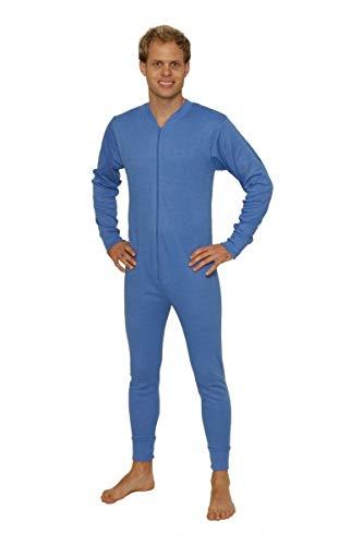 Octave® Thermounterwäsche für Herren: Thermo-Ganzkörperanzug/Thermo-Onesie (XL: Brustumfang: 44-46 Zoll, Blau)