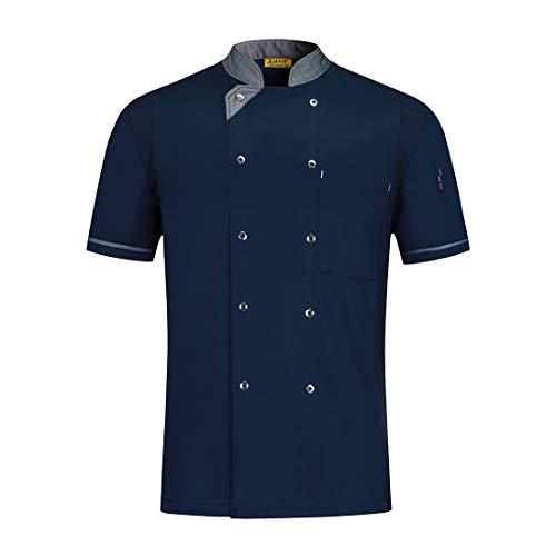 Pinji - Camisa de Chef Cocina Profesional Unisex Diseño Manga Corta para Verano, Uniforme de Chef Cocinero Camarero Clástico, Transpirable y Resistente al Desgaste