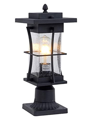 EERU Waterproof Outdoor Post Light Fixture Pole Mount Light with Pier Mount Adapter, Black Finish with Seeded Glass Outdoor Post Lantern for Patio, Garden, Porch and Backyard
