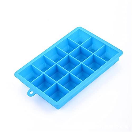 molde hielo cubiteras 15/24 Gridos DIY Bandeja de cubitos de hielo de silicona grande con tapa Forma cuadrada Molde de hielo Fruta Helado Helado Maker Bar Cocina Accesorios (Color : 15 Grids Blue)