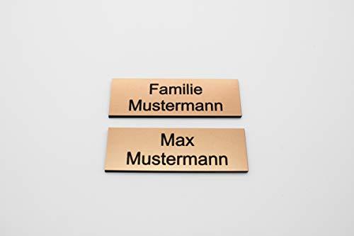 Türschild mit Gravur Bronze Kupfer - Namensschild Name - Büro Kunststoff | selbstklebend, eckig | Gravur, graviert, gestalten | Groß | Größen: 6x2 cm - 8x3,5cm (6x2cm)