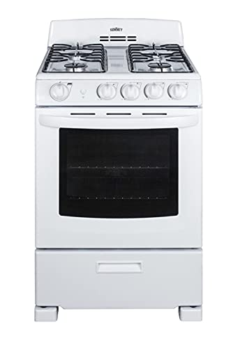 Summit Appliance RG244WS 24 Wide Gas Range in White with Sealed Burners, Electronic Ignition, Broiler Pan, Push-to-Turn Knobs, Anti-Tip Bracket, Broiler Compartment and Oven Window