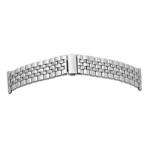 Shopkdo - Correa de reloj de acero macizo de acero inoxidable con cierre de mariposa Rowi (28 mm)